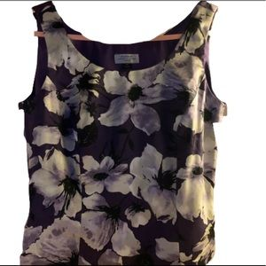 Tahari Women 4 Petite Purple Floral Tank Top